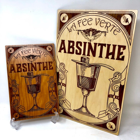 Vintage French Absinthe Ad, La Fee Verte Wall Art- The Green Fairy, FREE SHIPPING
