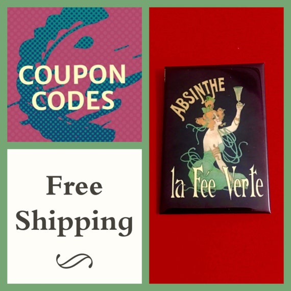 """Vintage Absinthe Ad 2x3"""" Button Pin or Magnet, FREE SHIPPING"""
