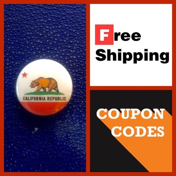 California State Flag Button Pin, FREE SHIPPING