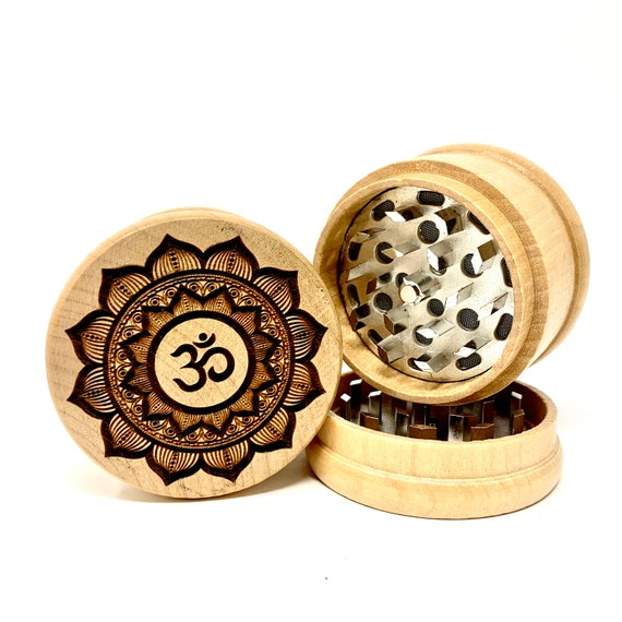 Om Flower Mandala Design - Herb Grinder Weed Grinders Tobacco Spices 3 piece all wood set with sharp blades and sieve FREE SHIPPING