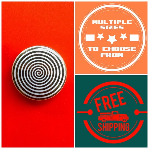 Black & White Spiral Optical Illusion Button Pin or Magnet, FREE SHIPPING and Coupon Codes