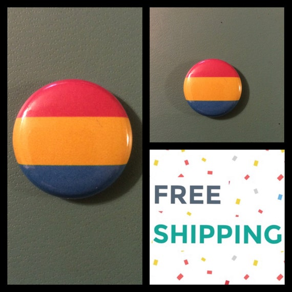 Pansexual Pride Flag Button Pin, FREE SHIPPING
