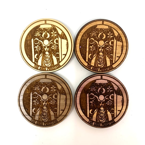 Fridge Magnet - Tarot 02 - The High Priestess -  Witchy Magic Symbols Wood Magnet Strong Heavy Refrigerator Magnets Home Decor Kitchen Art