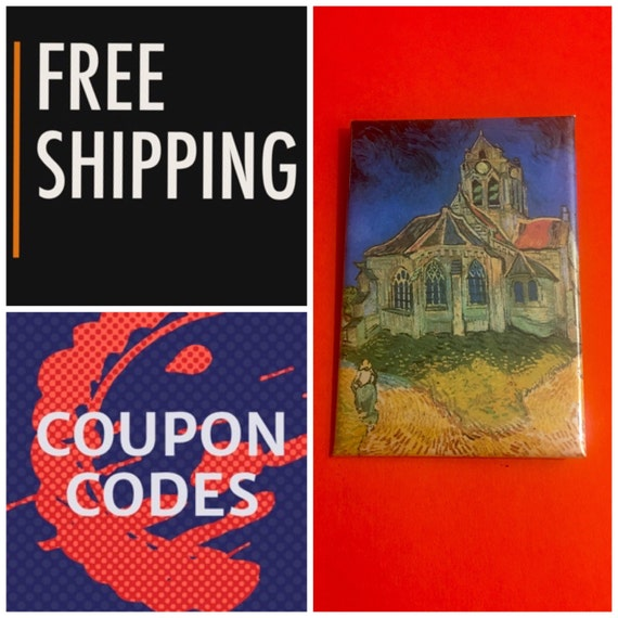 """Van Gogh The Church at Auvers 2x3"""" Button Pin or Magnet: FREE SHIPPING"""