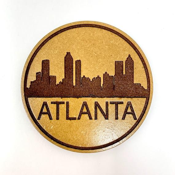 Drink Coasters - Atlanta City Skyline Wood Drink Coaster Set Home Decor Unique Gifts Housewarming Gift