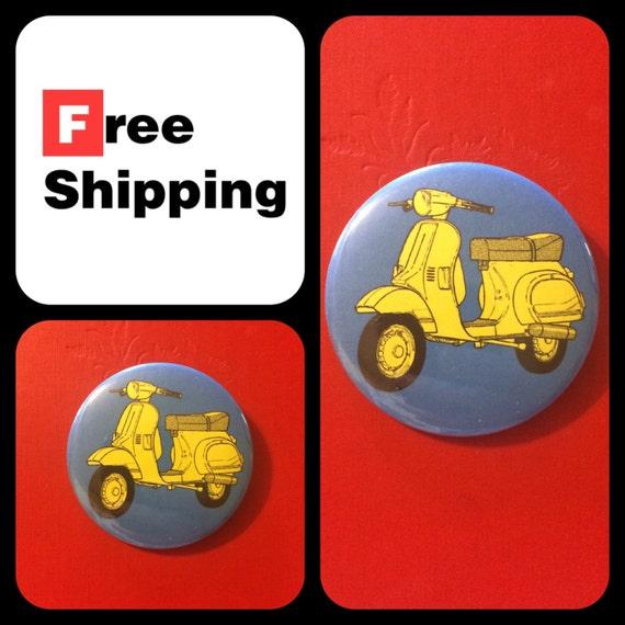 Retro Style Vespa Scooter Button Pin, FREE SHIPPING