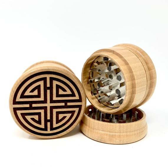 Chinese Prosperity Symbol - Herb Grinder Weed Grinders Tobacco Spices 3 piece all wood set with sharp blades and sieve FREE SHIPPING