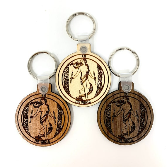 21 - The World - Tarot Deck Card Wood Key Chain w Key Ring, FREE SHIPPING