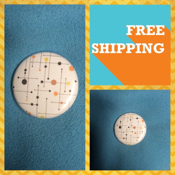 Googie Style 50s Dots and Lines Button Pin FREE SHIPPING