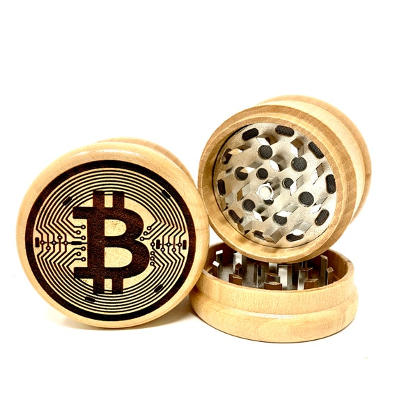 Bitcoin Symbol Cryptocurrency - Herb Grinder 3pc Grinders Tobacco Spices 3 piece all wood set with sharp blades and sieve FREE SHIPPING