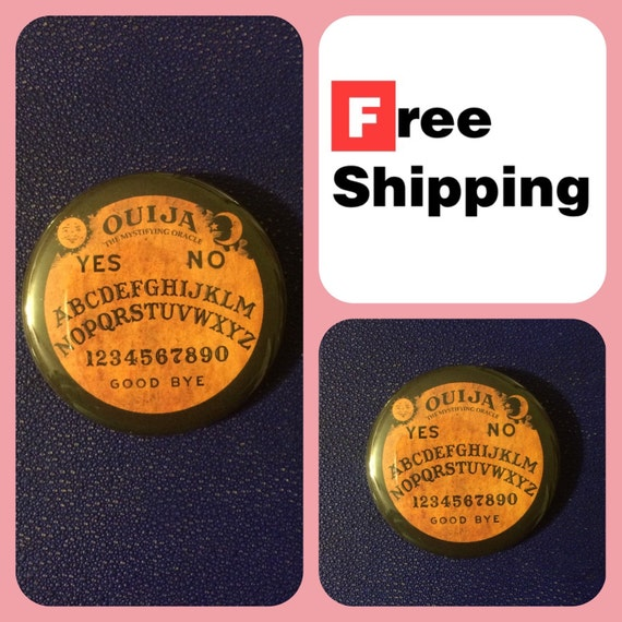 Ouija Board Button Pin, FREE SHIPPING