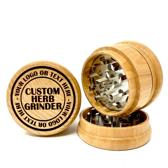 Custom Design, Your Logo or Art - Herb Grinder 3pc Grinders Tobacco Spices 3 piece all wood set with sharp blades and sieve FREE SHIPPING