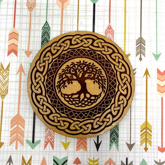 Drink Coasters - Tree of Life Celtic Knot Wood Drink Coaster Set Home Decor Unique Gifts Housewarming Gift
