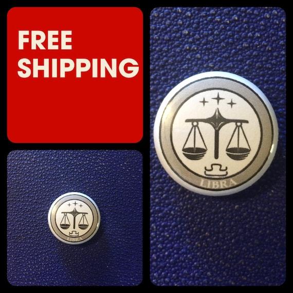 Libra Astrology Sign, Zodiac Button Pin, FREE SHIPPING