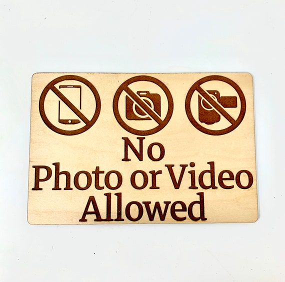 """Business Store Sign """"No Photo or Video Allowed"""" No Photography Signage, Laser Engraved Wood, FREE SHIPPING"""