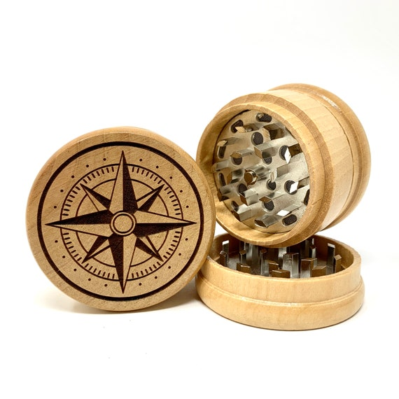 Nautical Compass Design - Herb Grinder Weed Grinders Tobacco Spices 3 piece all wood set with sharp blades and sieve FREE SHIPPING