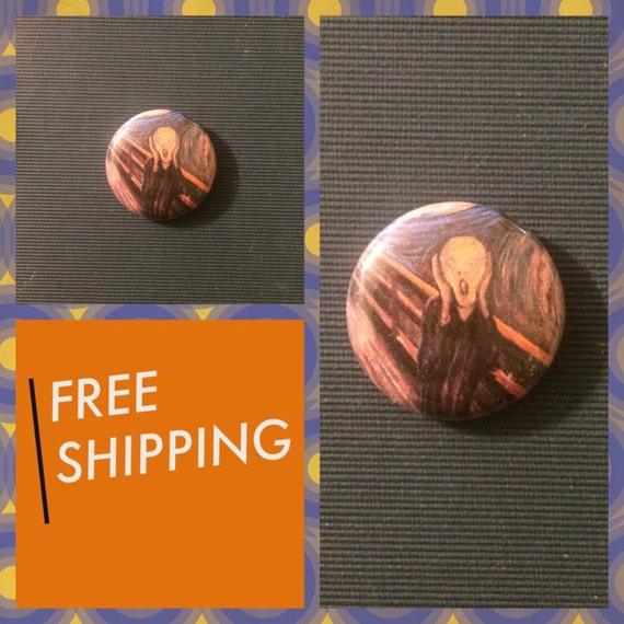The Scream, Edvard Munch Painting Button Pin, FREE SHIPPING