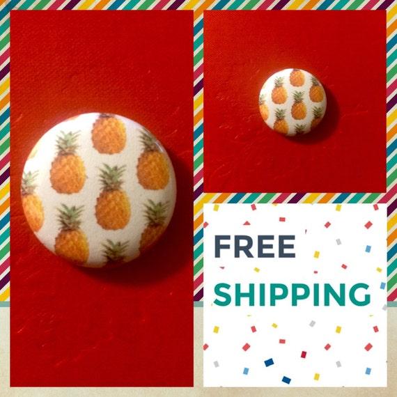 Hawaiian Pineapple Print Button Pin, FREE SHIPPING