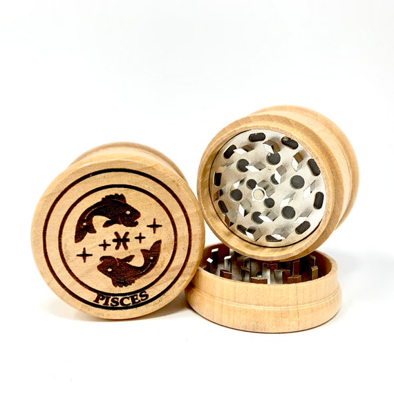 Pisces The Fish Star Sign Astrology - Herb Grinder Weed Grinders Tobacco Spices 3 piece wood set sharp blades  FREE SHIPPING