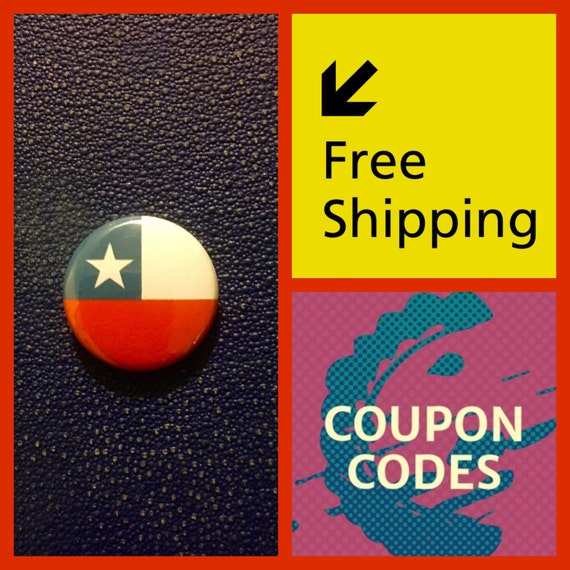 Chilean Flag Button Pin, FREE SHIPPING