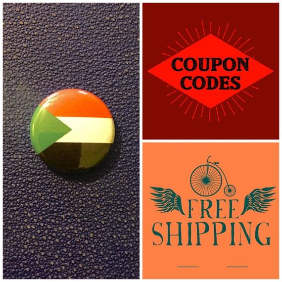 Sudan Flag Button Pin, FREE SHIPPING