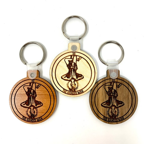 12 - The Hanged Man - Tarot Deck Card Wood Key Chain w Key Ring, FREE SHIPPING