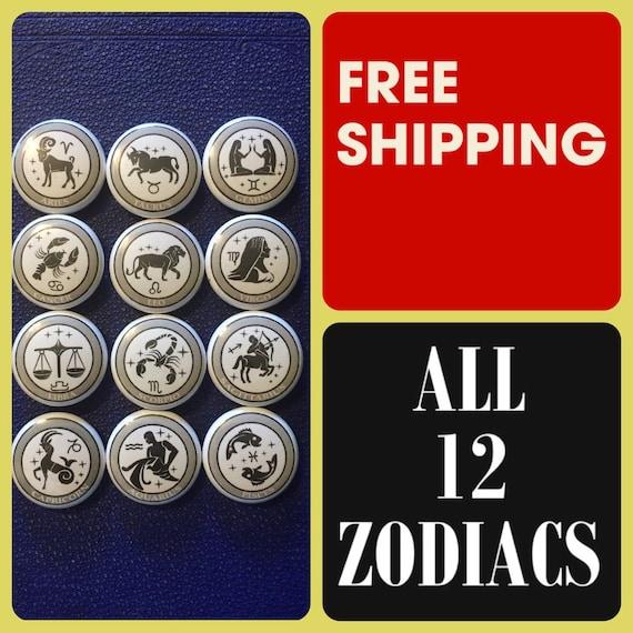Astrology Zodiac Signs Button Pin Set, FREE SHIPPING