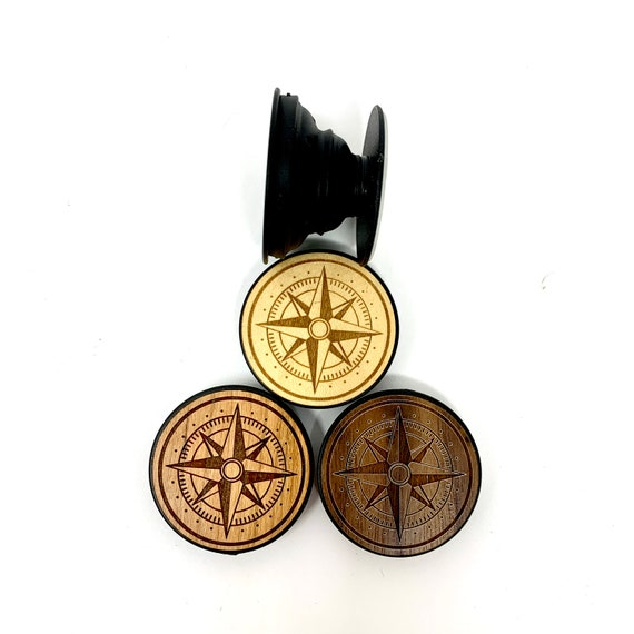 Compass Nautical Star Cell Phone Holder Grip Socket, Real Wood Top w/ strong 3M adhesive base, FREE SHIPPING