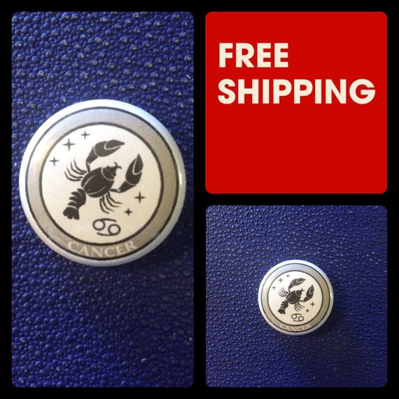 Cancer Astrology Sign, Zodiac Button Pin, FREE SHIPPING