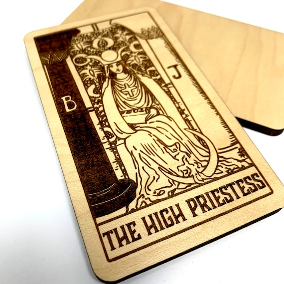 02 The High Priestess - Wood Tarot Card, Free Shipping