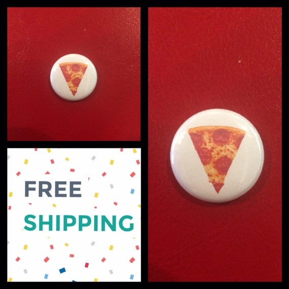 Pepperoni Pizza Slice Button Pin, FREE SHIPPING