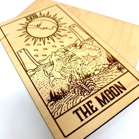 18 The Moon - Wood Tarot Card, Free Shipping