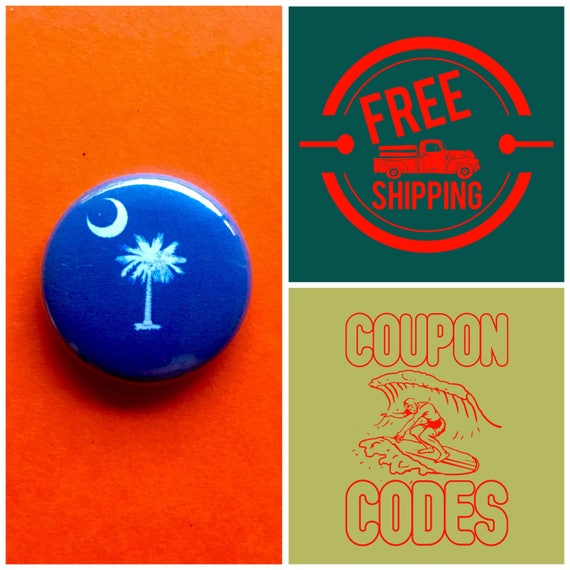 South Carolina State Flag Button Pin or Magnet, FREE SHIPPING