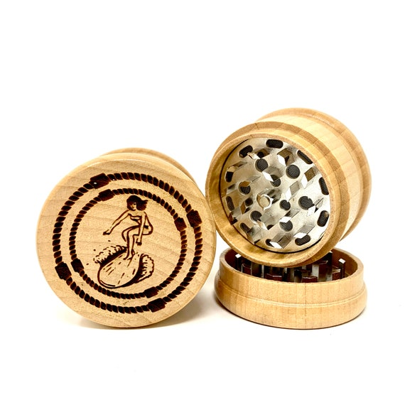 Retro Vintage Surfer Girl - Herb Grinder Weed Grinders Tobacco Spices 3 piece all wood set with sharp blades and sieve FREE SHIPPING