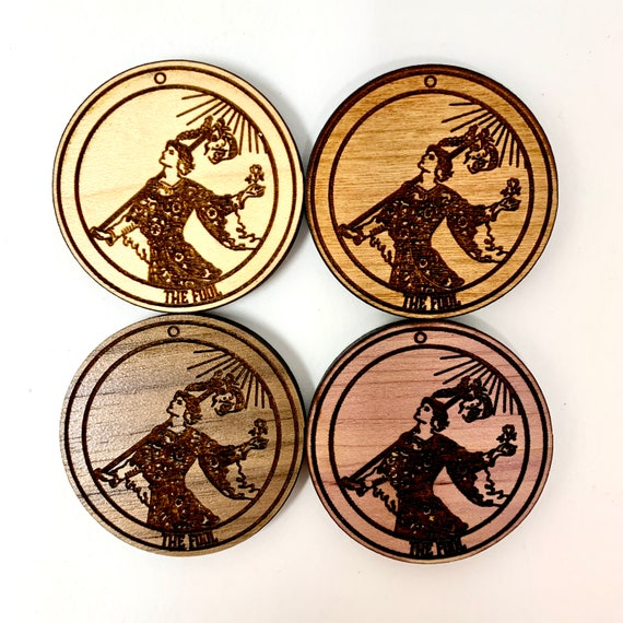 Tarot 00 - The Fool - Wood Fridge Magnet , FREE SHIPPING
