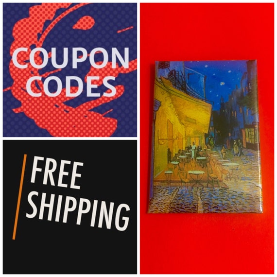"""Van Gogh Cafe Terrace at Night 2x3"""" Button Pin or Magnet, FREE SHIPPING"""