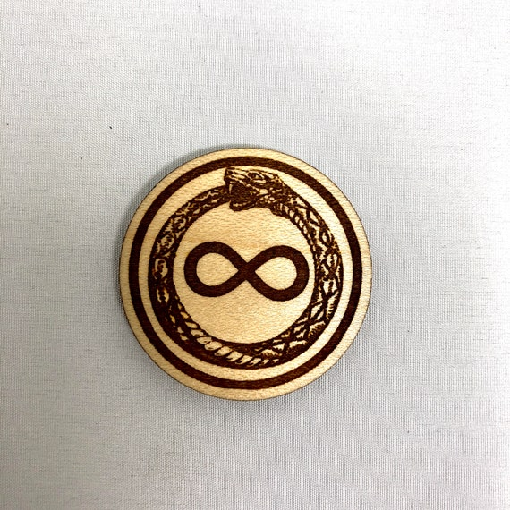 Wood Magnet - Ouroboros Infinity Snake Design, FREE SHIPPING