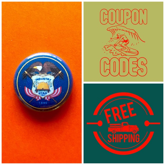 Utah State Flag Button Pin or Magnet, FREE SHIPPING