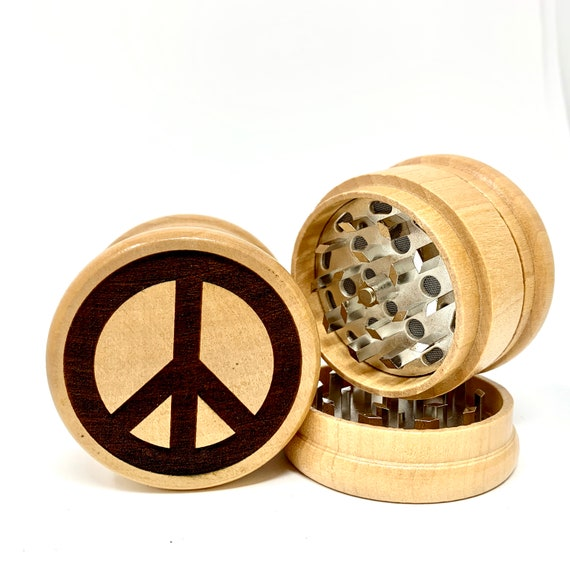 Hippie Peace Sign Design - Herb Grinder Weed Grinders Tobacco Spices 3 piece all wood set with sharp blades and sieve FREE SHIPPING