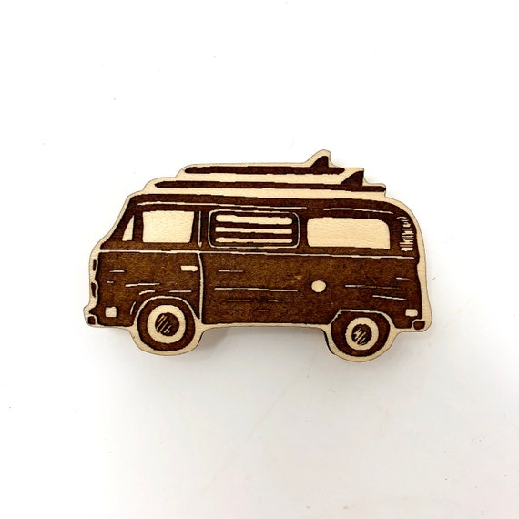 Wood Magnet - VW Micro Bus Surf Can, FREE SHIPPING