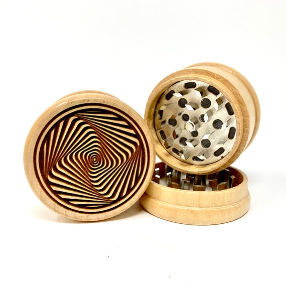 Spiral Optical Illusion Design - Herb Grinder Weed Grinders Tobacco Spices 3 piece all wood set with sharp blades and sieve FREE SHIPPING