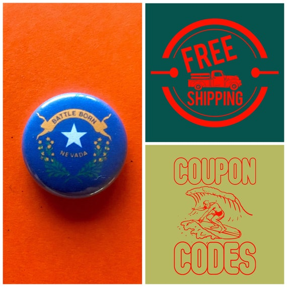 Nevada State Flag Button Pin or Magnet, FREE SHIPPING