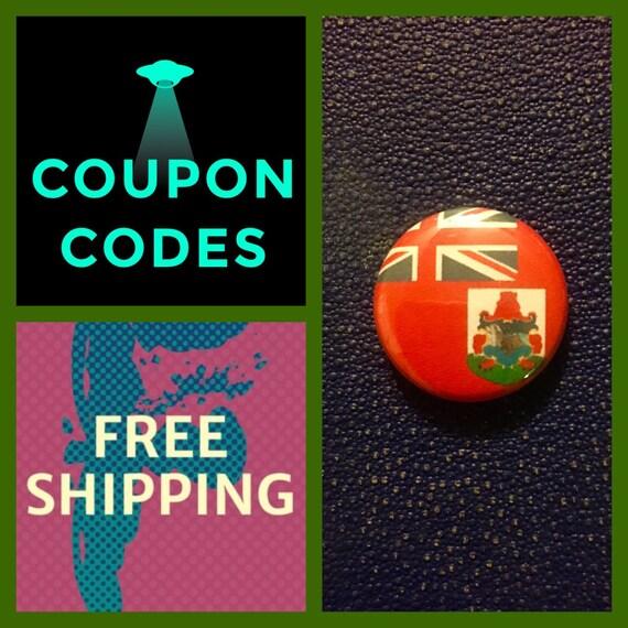 Bermuda Flag Button Pin, FREE SHIPPING