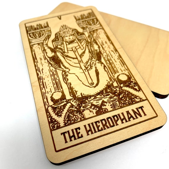 05 The Hierophant - Wood Tarot Card, Free Shipping