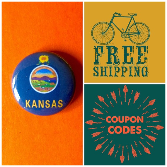 Kansas State Flag Button Pin or Magnet, FREE SHIPPING & Coupon Code