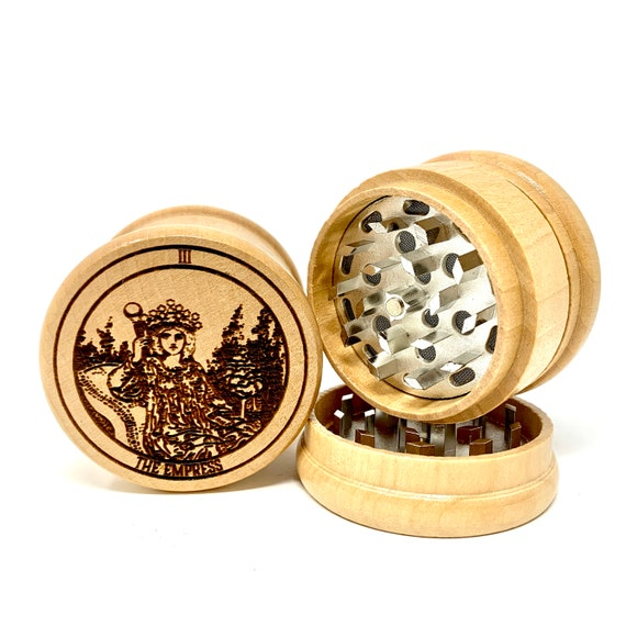 03 Tarot Deck Card - The Empress - Herb Grinder Weed Grinders Tobacco Spices 3 piece all wood set sharp blades w/ sieve FREE SHIPPING