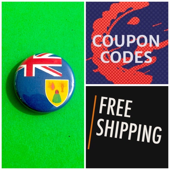Turks and Caicos Islands Flag Button Pin, FREE SHIPPING