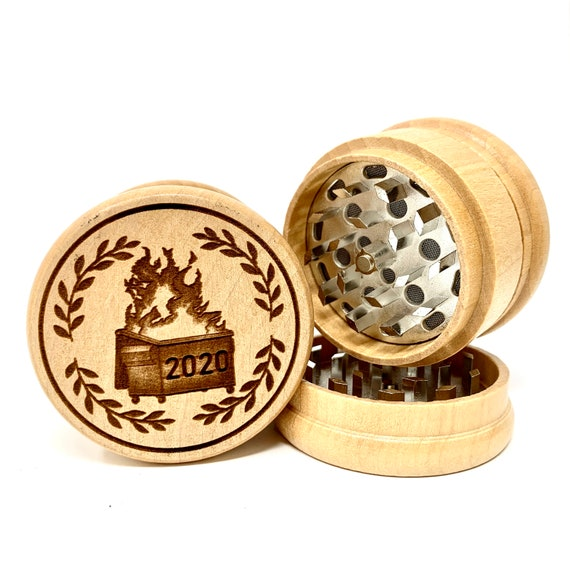 Dumpster Fire 2020 Design - Herb Grinder Weed Grinders Tobacco Spices 3 piece all wood set with sharp blades and sieve FREE SHIPPING