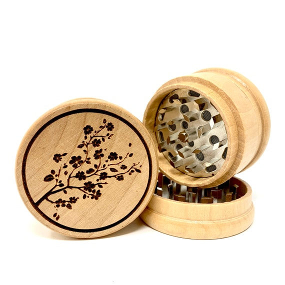 Japanese Cherry Blossoms Design - Herb Grinder Weed Grinders Tobacco Spices 3 piece all wood set with sharp blades and sieve FREE SHIPPING