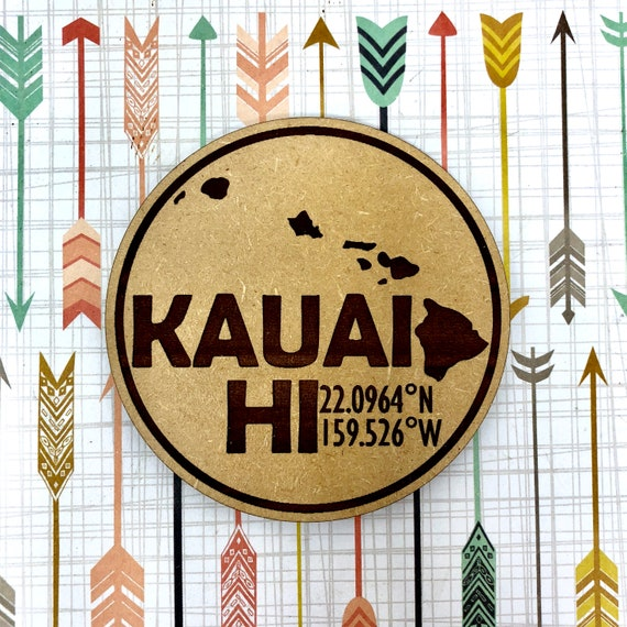 Kauai Map Coordinates Hawaiian Coaster Set, FREE SHIPPING & Bulk Rate Discount